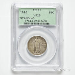 1916 Standing Liberty Quarter, PCGS VF25.     Estimate $5,000-7,000