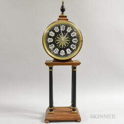 German Neoclassical-style Fruitwood Veneer Mantel Clock