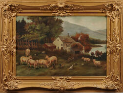 American School, 19th/20th Century      Farm Scene with Sheep and Hens in a Meadow