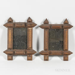 Pair of Small Carved Tramp Art Mirrors