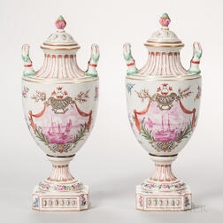 Pair of R. Bloch Porcelain Vases and Covers
