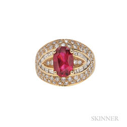 18kt Gold, Spinel, and Diamond Ring