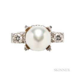Platinum, South Sea Pearl, and Diamond Ring