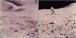 Apollo 15, Astronaut David R. Scott Leaning Over to Pick Up or Put Down the Lunar Drill at the Apollo Lunar Surface Experiments P...