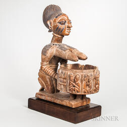 Large Yoruba-style Carved Wood Female Figure with Ceremonial Bowl