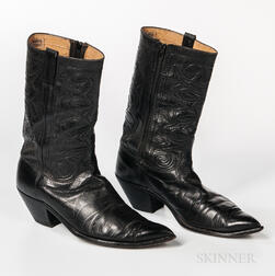 Pair of Black Leather Nudie Cowboy Boots