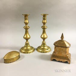 Two Brass Candlesticks and Two Brass Boxes