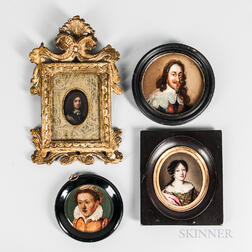 Dutch and English Schools, 16th/17th Century  Four Framed Miniature Portraits: Dark-haired Woman with Pearl Earring (Possibly...