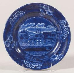 Historic Blue Transfer Decorated Staffordshire Plate