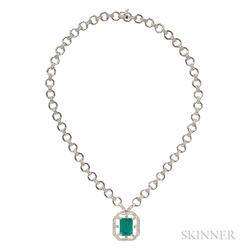 18kt White Gold, Emerald, and Diamond Necklace