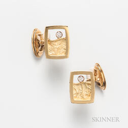 Pair of Modern 18kt Gold and Diamond Cuff Links