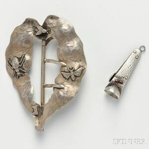 Art Nouveau Cigarette Cutter and a Belt Buckle