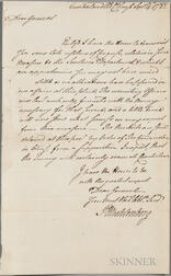 Muhlenberg, Peter (1746-1807) Secretarial Letter Signed, Cumberland, Old Courthouse, 14 September 1782.