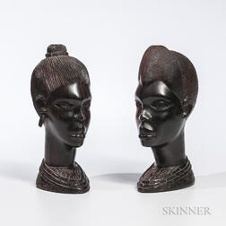 Pair of Congo Ebony Wood Colonial Busts