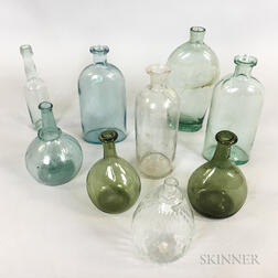 Nine Aqua and Olive Blown Glass Bottles and Flasks