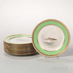 Twelve Lenox China Hand-painted Fish Plates