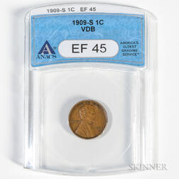 1909-S VDB Lincoln Cent, ANACS EF45.     Estimate $600-800