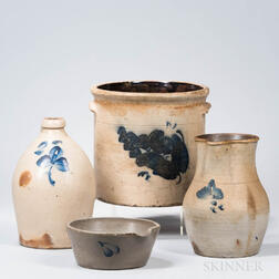 Four Cobalt Decorated Stoneware Items