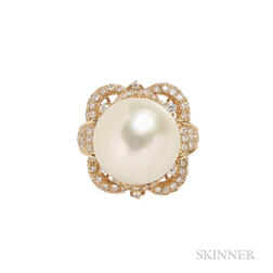 18kt Gold, Golden South Sea Pearl, and Diamond Ring