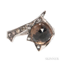 18kt Gold, Smoky Quartz, and Colored Diamond Ring, Stephen Webster