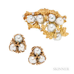 Gold and Baroque Cultured Pearl Brooch and Earclips