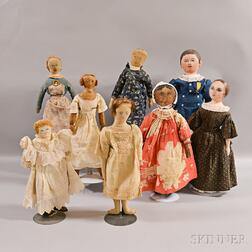 Five Painted Rag Dolls and Three Painted Oilcloth Dolls