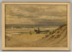 Edward Lamson Henry (New York/South Carolina, 1841-1919)      Shore Scene with Woman and a Rowboat