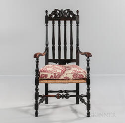 Black-painted and Carved Bannister-back Armchair