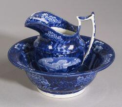 Blue Transfer Decorated Staffordshire Pitcher and Basin
