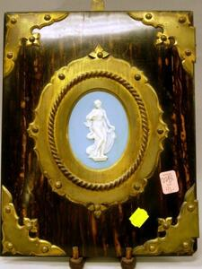 Wedgwood Oval Light Blue Jasper Plaque Mounted Brass and Olivewood Press.