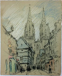 Mabel May Woodward (American, 1877-1945)      Town with Twin Spires