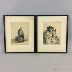 After Rembrandt van Rijn (Dutch, 1606-1669)      Two Framed Photomechanical Facsimiles: Clement de Jonghe