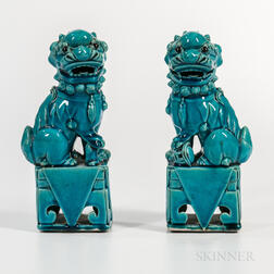 Pair of Turquoise-glazed Foo Dogs