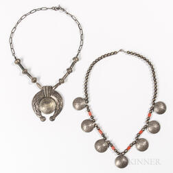 Two Navajo Silver Coin Necklaces
