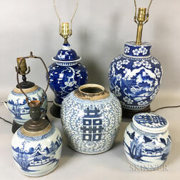 Six Chinese Blue and White Porcelain Jars