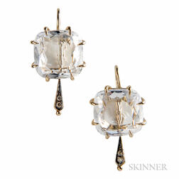 "18kt Gold, Rock Crystal, and Diamond ""Moonlight"" Earrings, H Stern"