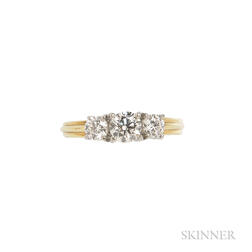 18kt Gold, Platinum, and Diamond Three-stone Ring