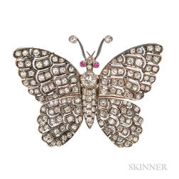 Diamond Butterfly Brooch
