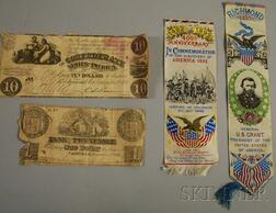 Two Stevengraph-type Bookmarks and Two Pieces of Confederate Currency