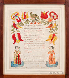 Watercolor Birth Certificate for John Wesly Amspacher