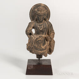 Gray Schist Figure of Buddha