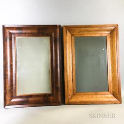 Two Pine and Mahogany Ogee Mirrors
