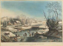 Nathaniel Currier, publisher (American, 1813-1888)  AMERICAN WINTER SCENES.  Morning.