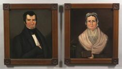 American School, 19th Century, Pair of Portraits, 1830-40. Unsigned. Oils on canvas of Joseph Dixon West and his wife. (a) the seated M