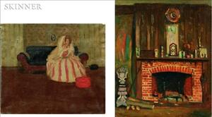 Robert Henry Logan (American, 1874-1942)    Lot of Two Interior Scenes: Fireplace and Woman Seated on a Sofa