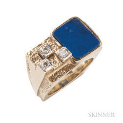 14kt Gold, Lapis, and Diamond Ring, La Triomphe