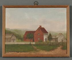 American School, 19th Century      Farmscape with Barn, Guilford, Connecticut.