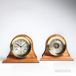 Brass Ship's Clock and Barometer Set