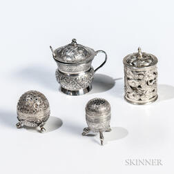 Four Pieces of Chinese Export Silver Tableware