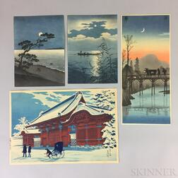 Nine Assorted Woodblock Prints